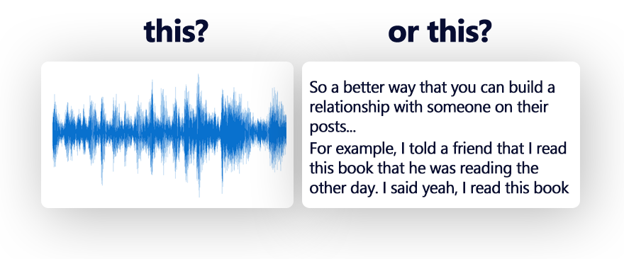 Editing a video podcast interview using text vs audio