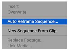 premiere resize using reframe - dropdown