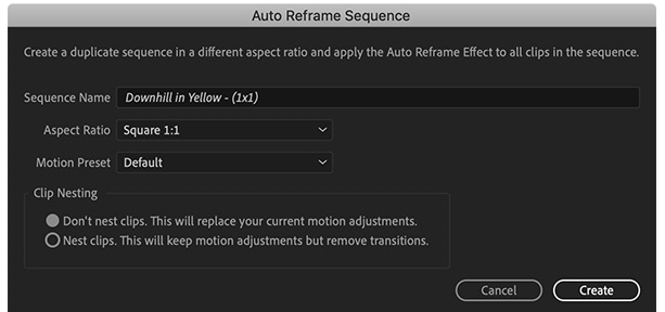 resize using reframe sequence - select Auto Reframe Aspect